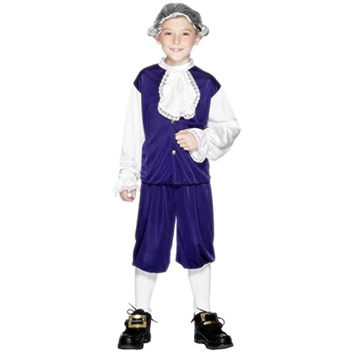 Child's Blue Colonial Boy Costume (Size: Large 9-12)