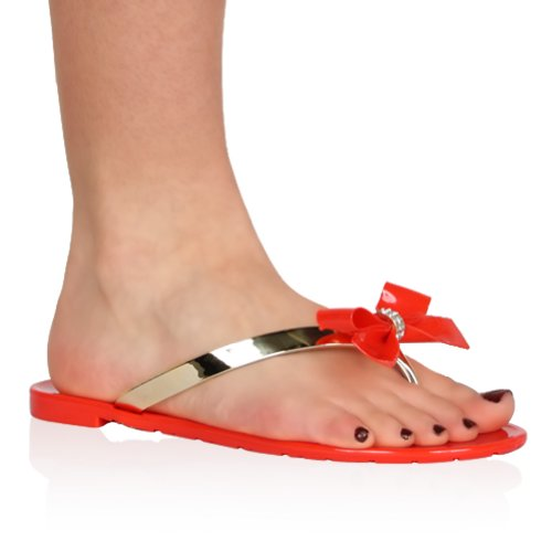 My1Stwish Women'S Diamante Bow Jelly Summer Beach Red Sandals Size 7