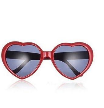 Nouveaux mode Lolita coeur Lunettes de soleil Lunettes de forme --- rouge