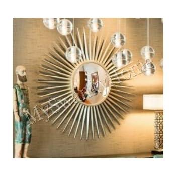 Extra Large Silver Leaf Sunburst Starburst Wall Mirror