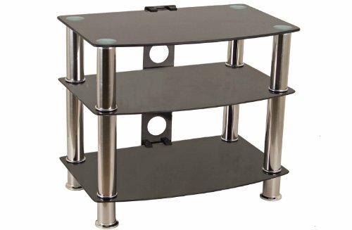 Portability GTS-2 Black Glass TV Stand