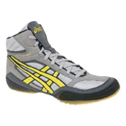 Mens ASICS Split Second VI Wrestling Shoe, Color:Silver/Yellow, 9.5 D