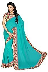 Aar VEE Sea Green Lace Border Saree