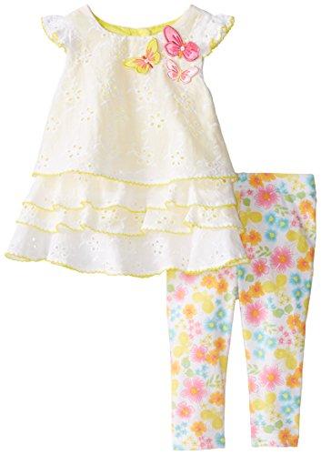 Youngland Baby Girls' Eyelet Tiered Legging Set, White, 24 Months
