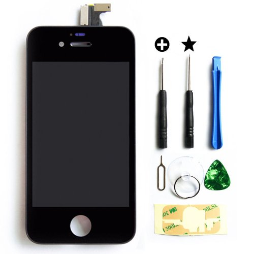 for iPhone 4 (GSM/AT&T) Full Set LCD Screen Replacement Digitizer Glass Lens Assembly Display Touch Panel Black + Free Repair Tool Kits [Ships from USA]