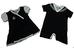 Twin Baby Boys Girls Set Cute Black Sailor Dress & Outfit Nautical (6-9 Month)