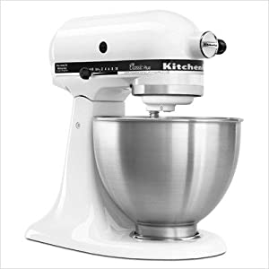 KitchenAid KSM75WH Classic Plus Tilt-Head 4-1/2-Quart Stand Mixer, White