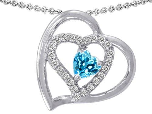 Original Star K(tm) 6mm Heart Shape Genuine Blue Topaz Pendant in .925 Sterling Silver
