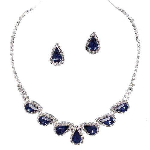 Glitzy Glamour Midnight Blue Diamante Teardrop Necklace Set