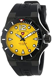 Men's Abyssos Automatic Yellow Dial Black Silicone
