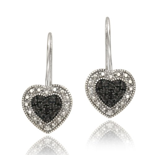 Sterling Silver Black Diamond Accent Heart Drop Earrings