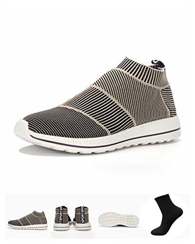 LAS Men Women Primeknit Sneakers City Sock Breathable Flyknit Shoes (Beige, Men 8.5 D(M) US/260 CHN 42) (Kd Light Blue Socks compare prices)