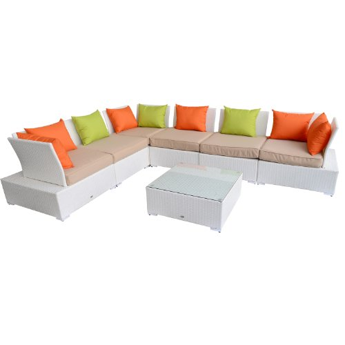 Outsunny Outdoor 7-Piece PE Rattan Wicker Sectional Sectional Couch Sofa Set picture
