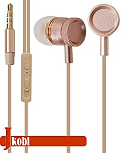 Jkobi Superior Quality Metal Body Stereo Earphone Headset Compatible For Vivo X6 Plus -Gold