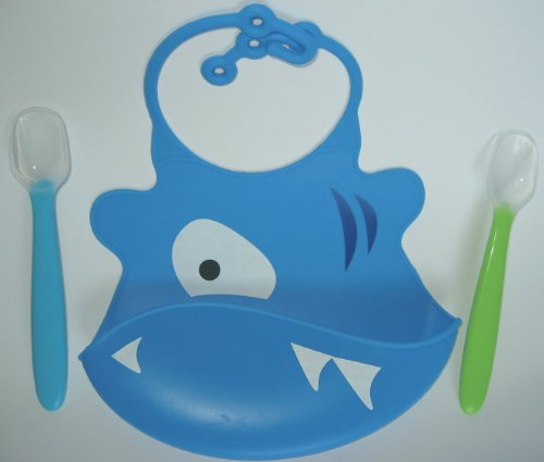 Cute Baby Gift Set Soft Waterproof Silicone Animal Face Bib Crumb Catcher Pocket With 2 Silicone Spoons Blue