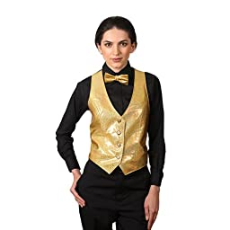 Women\'s Gold Sparkling Vest Medium