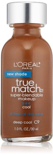 L'Oreal Paris True Match Super Blendable Makeup, Deep Cool C9, 1.0 Ounces