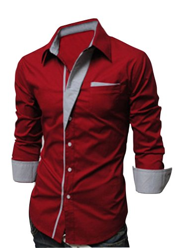 Keral New Designer Luxury Slim Fit Dress Men's Shirts Casual Shirts Red L Picture