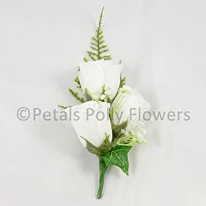 artificial wedding flowers hand made by petals polly silk rose corsage buttonhole in white. Black Bedroom Furniture Sets. Home Design Ideas