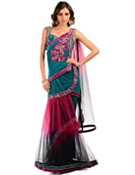 Chhabra555 Green Net One Minute Saree - B00J4ROSBW