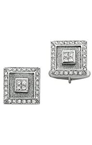 14K Dazzling White Gold Square cufflinks with 1.42 ct. of Diamonds-86289