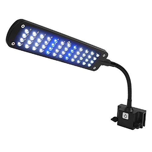 HOCN 48 LED Aquarium Led Light Coral Reef Fish Tank White Blue Lamp with Flexible Clip AC110-220v,US Plug