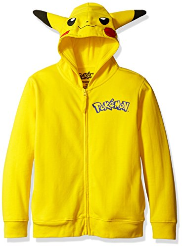 Pokemon Big Boys' Pikachu Costume Hoodie, Yellow, Medium/10/12