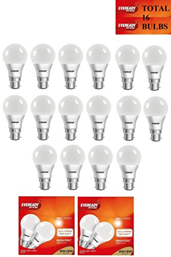8W LED Bulbs (Cool Day Light, Pack of 16)
