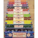 Genuine SATYA SAI BABA - NAG CHAMPA VARIETY MIX 12 X 15G BOXES OF INCENSE, INCLUDES NAG CHAMPA, CELESTIAL, MIDNIGHT, PATCHOULI, SANDALWOOD, SUNRISE, ROMANCE, BLESSINGS, FORTUNE, JASMINE BLOSSOM AND RAIN FOREST