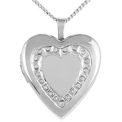 Sterling Silver Diamond Heart Locket BU0163