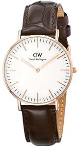 [ダニエルウェリントン]Daniel Wellington 腕時計 Classic York ホワイト文字盤 革ベルト 0510DW レディース 【並行輸入品】