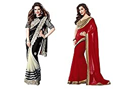 MDS Chiffon Embriodered Combo Saree ( bkingsophi_Black And Red_Freesize )