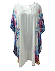 SUNROSE Women's A-Line White Flower Print Maternity Plus Size Kaftan