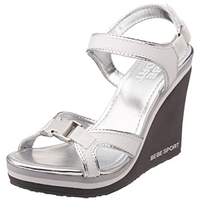 bebe sport s whole sandal white silver