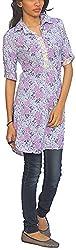 Novelties Women's Cotton Regular Fit Kurta(KM-61-824, Blue and Purple, XX-Large)