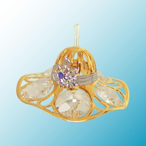 24K Gold Plated Hanging Sun Catcher or Ornament..... Ladies Hat with Clear Swarovski Austrian Crystal - 1