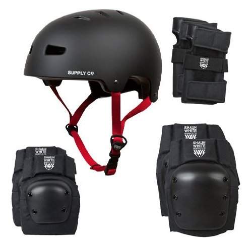 Shaun White Supply Co. Kids 4 in 1 Combo Helmet and Pads - Black, Youth UK