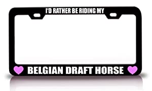 I'D RATHER BE RIDING MY BELGIAN DRAFT HORSE Horses Steel Metal License Plate Frame Tag Holder Black