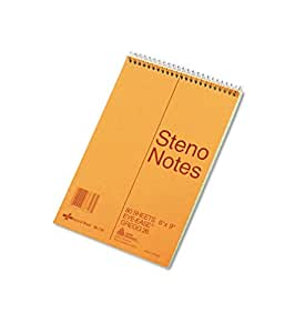 National Brand Brown Board Cover Steno Notebook, Gregg, Green Paper, 6 x 9 Inches, 80 Sheets (36746)
