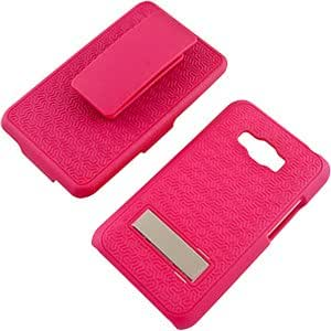 Rubberized Hard Shell Case w/ Holster & Kickstand for LG Optimus Elite LS696, Hot Pink