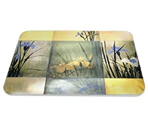 Pimpernel Iris Squares Tempered Glass Cutting Board