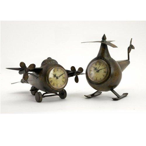 Expedition Set of 2 Lindbergh Aviation Clocks, Bronze - 1
