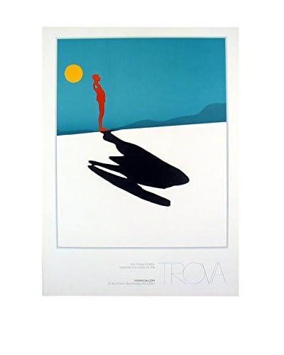 "Ernest Trova ""Male Figure & Shadow"" 1991 Unframed Poster, Blue/Black/White"