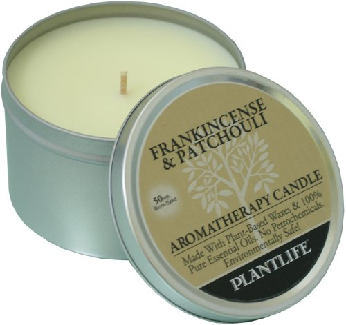 Frankincense & Patchouli Aromatherapy Candle- made with 100% pure essential oils - 6oz tin