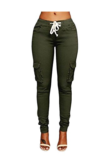 OLUOLIN Womens Solid Color Stretch Drawstring Skinny Pants Cargo Joggers Size S Green (Women Color Jeans compare prices)