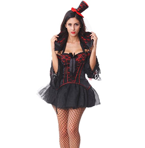 Voglee Sexy Midnight Mistress Vampire Halloween Adult Costume Dress Victorian Gothic