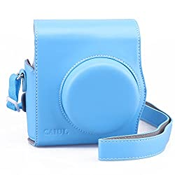 [Fujifilm Instax Mini 8 Case] - CAIUL 2nd Generation [Update Version] Comprehensive Protection Instax Mini 8 Case With Soft PU Leather [ Film Count Show and Easy to Reload Film Design ] (Blue)