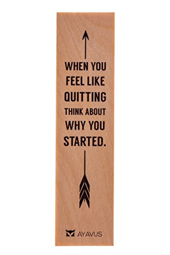 When You Feel Like Quitting Think About Why You Started - Wood Bookmark Entrepreneur Quote Wooden Bookmarks Hipster Arrow Minimalist Inspirational Quotes