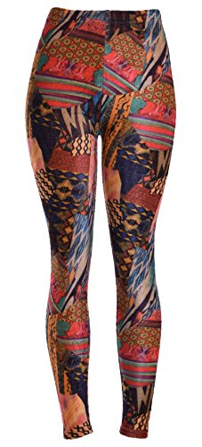 Women's Fleece-Lined Printed Leggings (Fabric Collage S2)