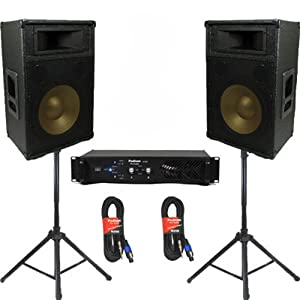 """Podium Pro 12"""" Speakers, Stands, Amp and Cables and Bluetooth DJ Set for PA Home or Karaoke PPT12CSET2B"""